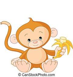 サル, 赤ん坊の食べること, バナナ