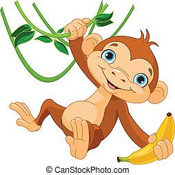 サル, 赤ん坊, 木