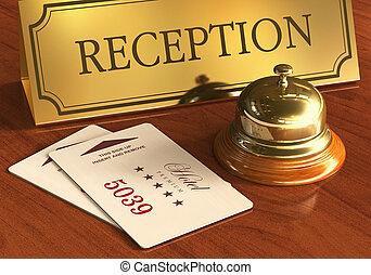 サービス, cardkeys, レセプションベル, ホテル, 机