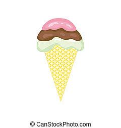サーブ, 隔離された, 氷, 背景, 白, 柔らかいクリーム