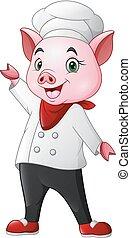 シェフ, かわいい, 振ること, 漫画, 豚