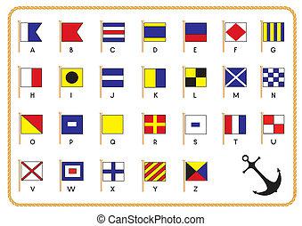 シグナル, ベクトル, 旗, 錨, 海事