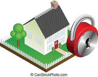 システム, セキュリティー, 概念, 家