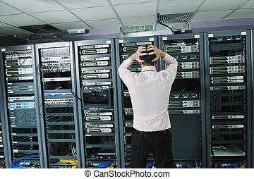 システム, 部屋, 失敗, ネットワーク, 状態, サーバー