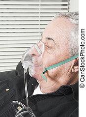 シニア, マスク, 酸素