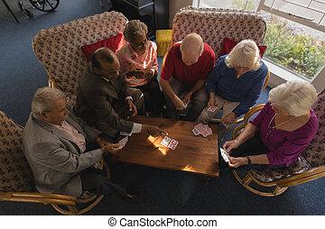 シニア, 友人, 家, カード, グループ, 看護, 遊び