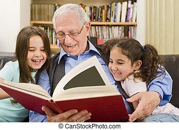 シニア, 読書, 子供