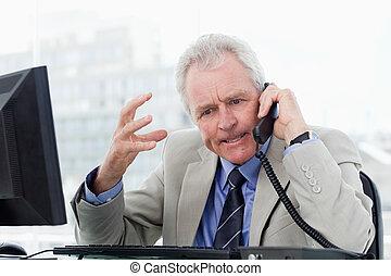 シニア, 電話, 怒る, マネージャー