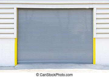 シャッター, 灰色, ドア, 工場