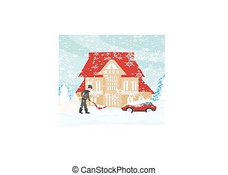 シャベルで掘ること, 人, 冬の景色, 雪