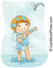 シャワー, 子供