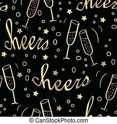 シャンペン。, クリスマス, 背景, seamless