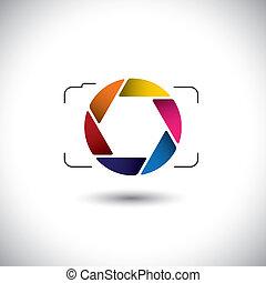 シュート, これ, グラフィック, カラフルである, ビデオ, &, 単純である, 流行, 抽象的, ポイント, ベクトル, ∥あるいは∥, レンズ, 写真, シャッター, カメラ, デジタル, 開き, 代表, icon., 取得