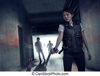 シュート, ベスト, 女, 勇士, zombies