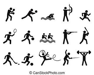 シルエット, アイコン, 人々, スポーツ