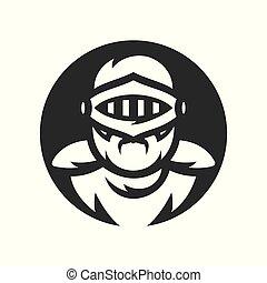 シルエット, クルセーダー, 騎士, 印。, ベクトル, helmet.