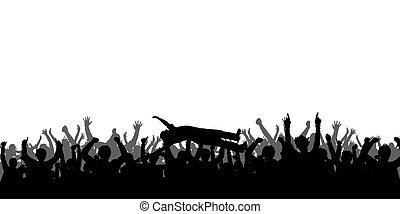 シルエット, コンサート, 人々