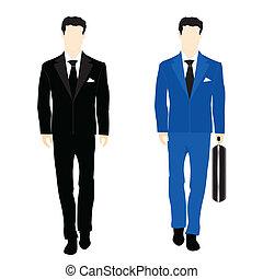 シルエット, スーツ, ビジネス 人々