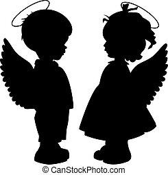 シルエット, セット, 天使