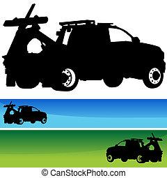 シルエット, セット, 旗, トラック, 牽引