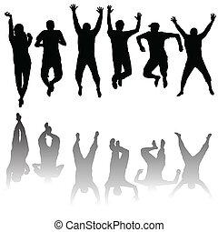 シルエット, セット, 若い, 跳躍, 人々