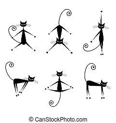 シルエット, ネコ, 黒, 優美である, デザイン, あなたの