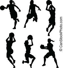 シルエット, バスケットボール, 女性, 女性