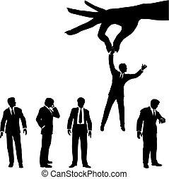 シルエット, ビジネス 人々, 手, グループ, selects, 人