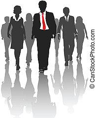 シルエット, ビジネス 人々, 歩きなさい, 人的資源