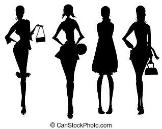 シルエット, ビジネス, 女性