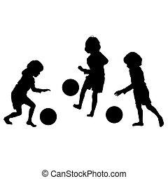 シルエット, ベクトル, サッカー, 子供