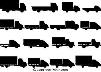 シルエット, ベクトル, セット, トラック