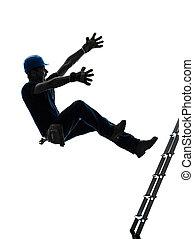 シルエット, マニュアル, 落ちる, 労働者, 人, はしご