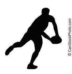 シルエット, ラグビー, -, プレーヤー, 動くこと, パス, 作成, スポーツ