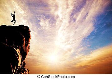 シルエット, 喜び, 跳躍, 日没, ピークに達しなさい, 人, 山, 崖