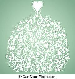 シルエット, 型, ベクトル, 結婚式, 白いドレス
