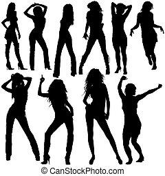 シルエット, 女の子, ダンス