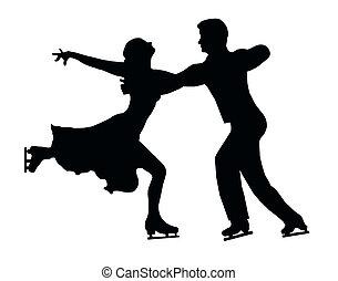 シルエット, 恋人, 背中, 氷, 抱擁, スケーター, 蹴り