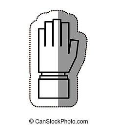 シルエット, 指すこと, ステッカー, の上, 手, 黒, 輪郭