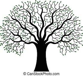 シルエット, 木, 緑, 漫画