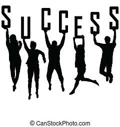 シルエット, 概念, 若い, 成功, チーム