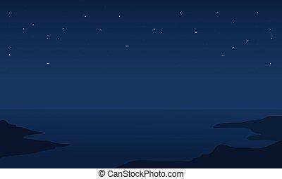 シルエット, 海, 夜