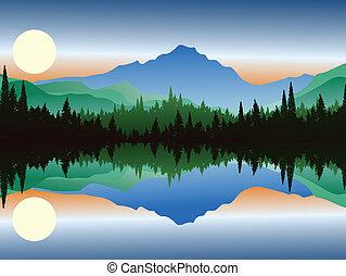 シルエット, 湖, 美しさ, 松