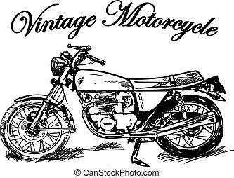 シルエット, 白, オートバイ