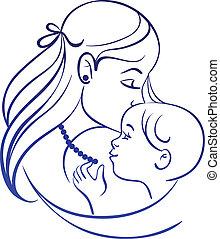 シルエット, 線である, 彼女, 子供, 母, baby.