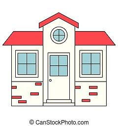 シルエット, 色, 家, 小さい, ファサド, セクション