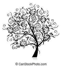 シルエット, 芸術, 木, 美しい, 黒