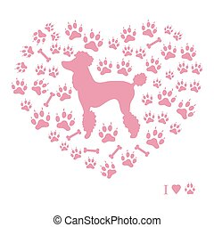 シルエット, 軌道に沿って進む, 形態, プードル, 骨, 背景, 映像, 犬, すてきである, heart.