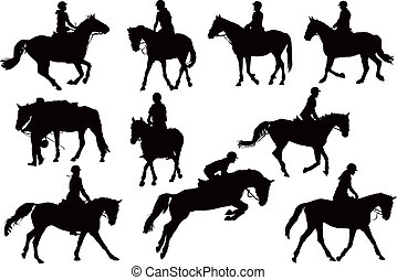 シルエット, 馬, 10, ライダー