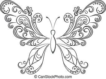 シルエット, 黒, 蝶